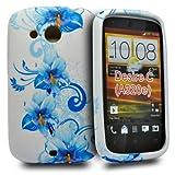 Accessory Master 5055403884349 - Carcasa de silicona para HTC Desire C, diseño de flores, color blanco y azul