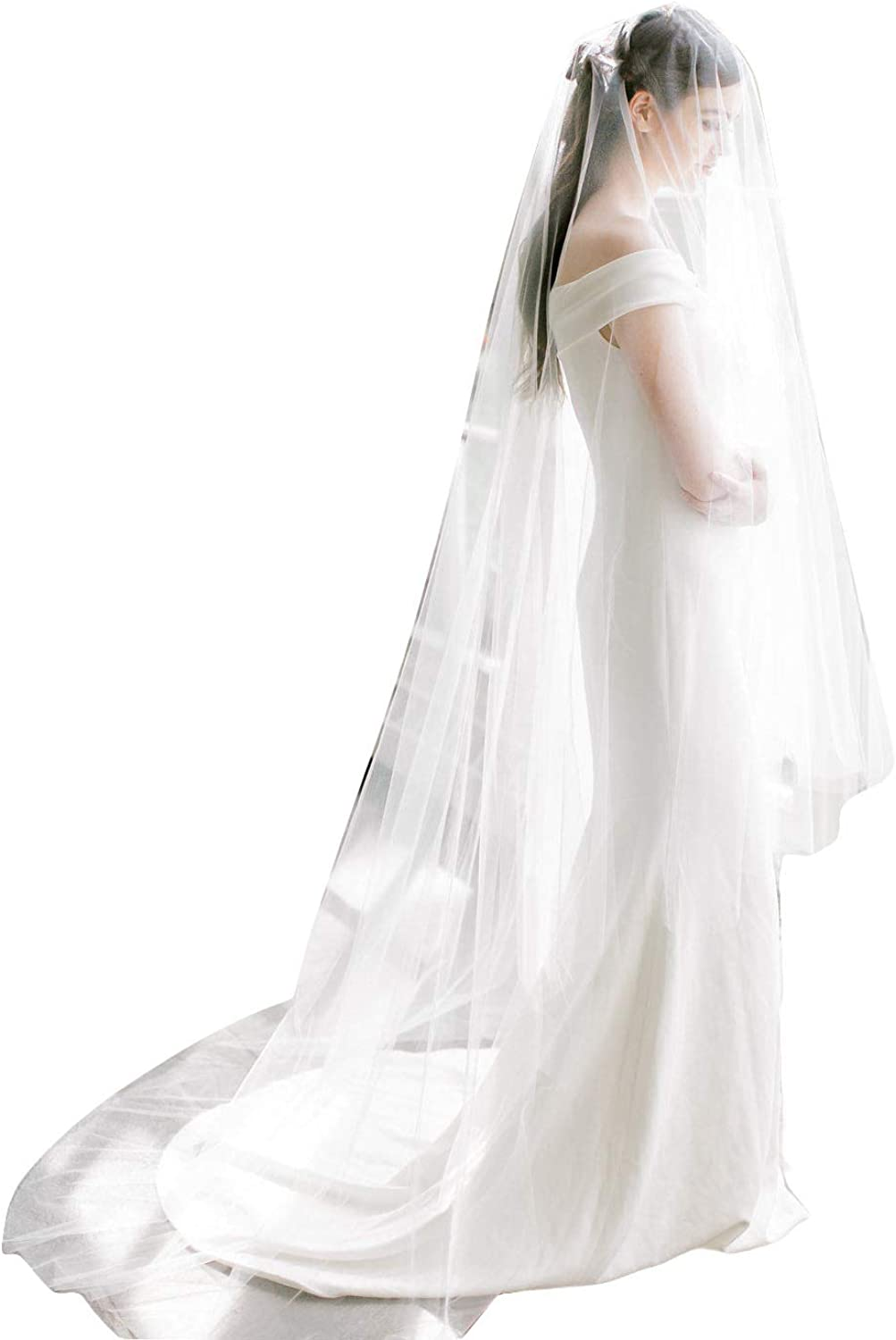 Fenghuavip 2 Tier bluesher Veils Cathedral Length Wedding Veils Tulle with Comb