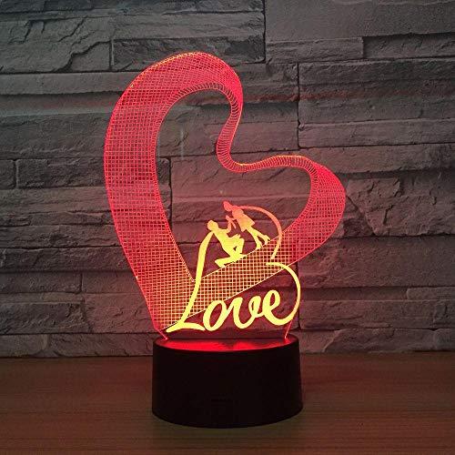 Liebe Herz Romantische Lampe 3D Optische Täuschung Tischleuchte Touch Fernbedienung 7 Farben Hauptlicht Hochzeitsdekor Neuheit Geschenke Fernbedienung