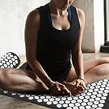 Estimula los puntos de acupuntura Aliviar el cojín de masaje Aumenta la circulación sanguínea Estera de masaje, para el hogar(Black cushion + pillow)