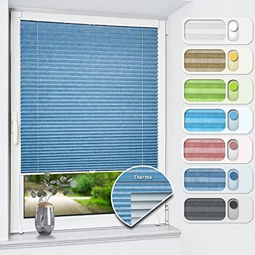 HOMEDEMO Plissee ohne Bohren verdunkelung, Thermo Plisseerollo Klemmfix, Blau 80x120cm, Verdunklungsplissee 100{b28d6f9f2ab101dfa48b2c74911c8331ef5ca599ee461302f80eeb2cd96388ad} lichtundurchlässig für Fenster und Tür, Blickdicht Sichtschutz Sonnenschutz
