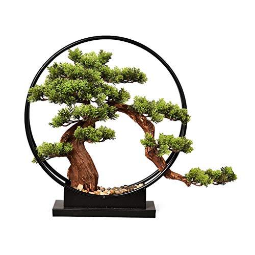 Planta artificial Sala Zen adornos del árbol de simulación de estilo chino nuevo, artificial Bienvenida La siembra bonsais del pino Porche Televisión Gabinete hotel Hierro forjado decoración del hogar