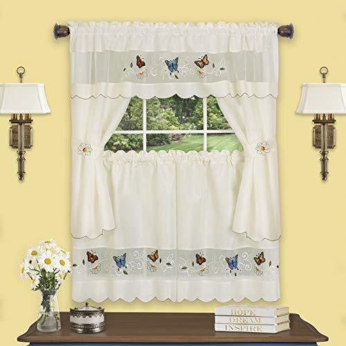 "Achim Home Furnishings Daisy Meadow Embellished Cottage Window Curtain Set, 58"" x 24"", Multi"