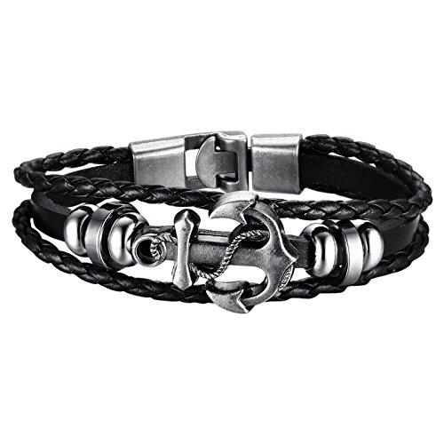 Hanessa - Pulsera surfera de piel en color negro con ancla para hombre, joya de acero inoxidable, regalo para novio/hombre