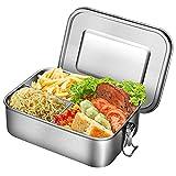 Boîte Bento en Acier Inoxydable, 1400ml Grande Bento Box 3 Compartiments Boîte à Lunch en Métal Boite pour Le Déjeuner Alimentaires Boîtes-Repas étanches pour Enfants Adultes