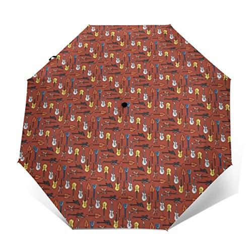Premium Compact Lichtgewicht Winddichte Reizen Paraplu Draagbare Paraplu Auto Open & Sluiten - Vouwen Automatische Outdoor Paraplu's voor Vrouwen Mannen Tieners (Elektrische Gitaar)