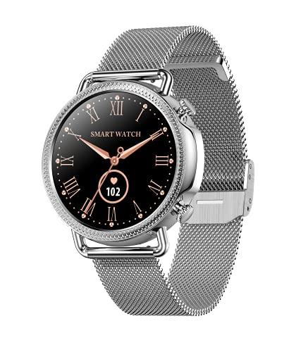 Aliwisdom - Reloj Inteligente para Mujere, Smartwatch Redondo Impermeable con medición de la Temperatura Corporal recordatorio de teléfono SMS de Whatsapp para iPhone Android (Plata)