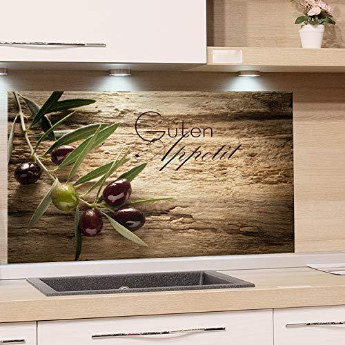 GrazDesign 200117 Spatbescherming glas voor keuken/fornuis | Afbeelding motief olijftak met tekst | Keuken achterwand keukenspiegel glazen achterwand 100x50cm