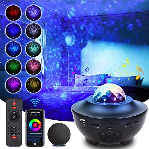 Lumary - Proyector LED de cielo estrellado, luz nocturna, WiFi, música, Bluetooth, cambio de color, con mando a distancia, temporizador, proyector de estrellas para fiestas, Navidad, Pascua, regalo