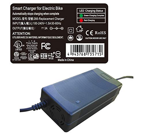 3 amp Smart Charger for SwagTron Swagcycle SC1 EB-5 Swagger SG-3 Cali Drift EB-7 EB-8 36V LI-ION Lithium E-Bike 36 Volts Electric Folding Lightweight Ebike Bicycle