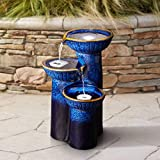 John Timberland 3 Bowl Modern Outdoor Floor Water Fountain with Light LED 26 3/4' High Cascading Column for Yard Garden Patio Deck