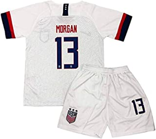HTHUPL New USA National Team Home Kids/Youths 13 Alex Morgan White Soccer Jersey/Shorts