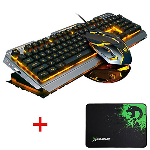 Lexonelec Gaming tastiera e mouse set Combo cablata V1 LED retroilluminato Multimedia USB gioco portatili metallo impermeabile + 3200DPI regolare 7 colori respirare Light set + ottico gamer Mouse