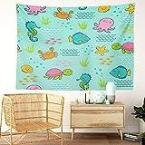 Y·JIANG Bonito tapiz, diseño de onda marina y algas marinas para el hogar, decoración de dormitorio grande, manta ancha para colgar en la pared para sala de estar, dormitorio, 80 x 60 pulgadas