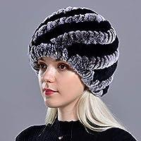 幸福 女性のための冬のフェイクファー帽子ロシアのフェイクファーニット帽Headgea冬の暖かいビーニー帽子ファッションアウトドア ブラックコーヒー