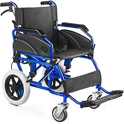 Silla de Ruedas plegable Ultra-ligera de aluminio con freno para discapacitados y mayores. Doble sistema de frenado. Cinturon de seguridad. Garantía de 24 meses