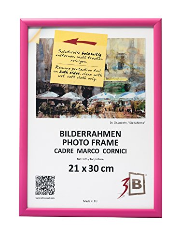 3-B Bilderrahmen ULM 21x30 cm - rosa - Holzrahmen, Fotorahmen, Portraitrahmen mit Plexiglas