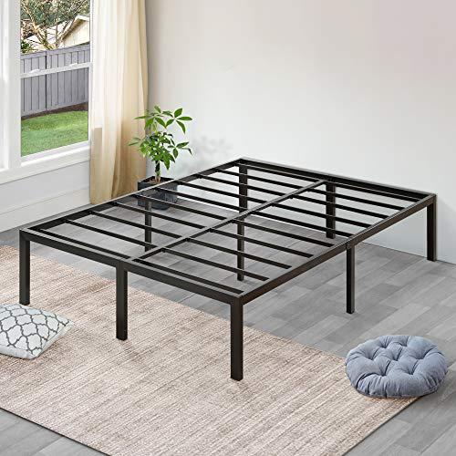 SLEEPLACE 18 Inch High Profile Heavy Duty Steel Slat / Mattress Foundation / Bed Frame, Full