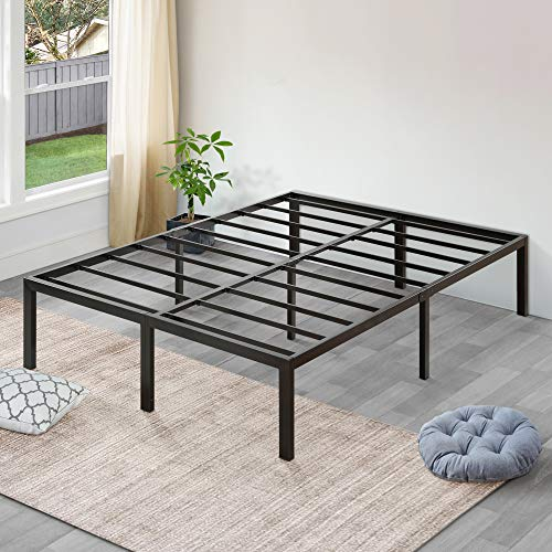 Sleeplace 18 Inch High Profile Heavy Duty Steel Slat/Basic Home Furniture/Unique Design/Mattress Foundation/Bed Frame, Black Bed Frame