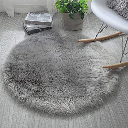 Cumay Kunstfell Pelz Stil Teppich Faux Fleece flauschig Bereich Teppiche Anti-Rutsch Yoga Teppich für Wohnzimmer Schlafzimmer Sofa Boden Teppiche, (Rund Grau, 60x60cm)