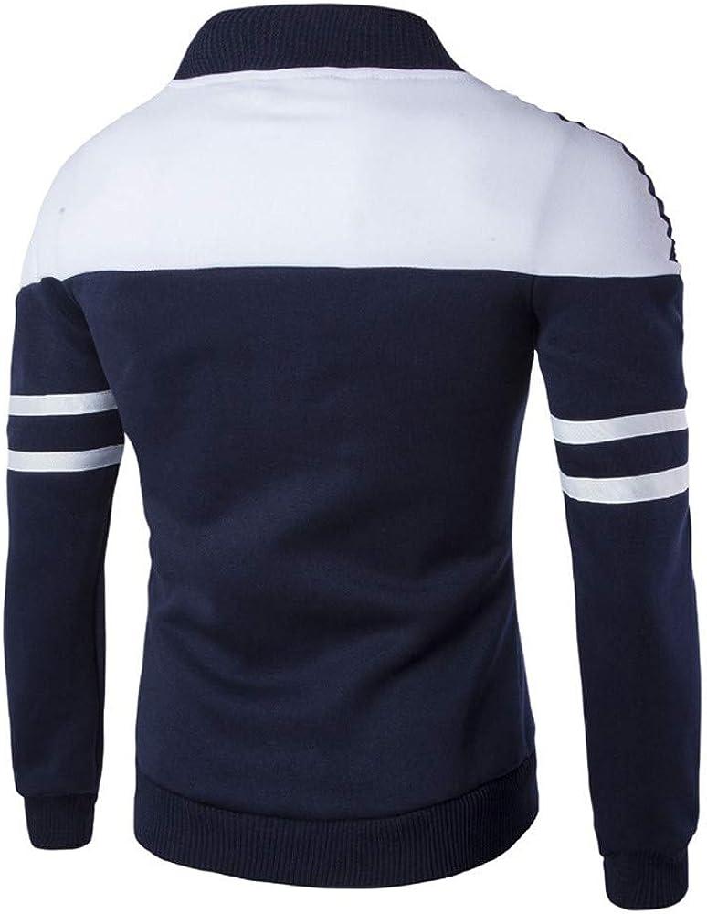 iYBUIA Patchwork Design Fashion Men's Autumn Winter Zipper Sportswear Patchwork Jacket Long Sleeve Coat