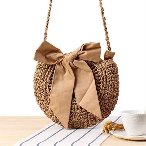 Borsa Wbdd Beach Vento Carino Bow Cross Corpo Tessuto Borsa Fatto A Mano Crochet Rotondo Erba Borsa cachi inv