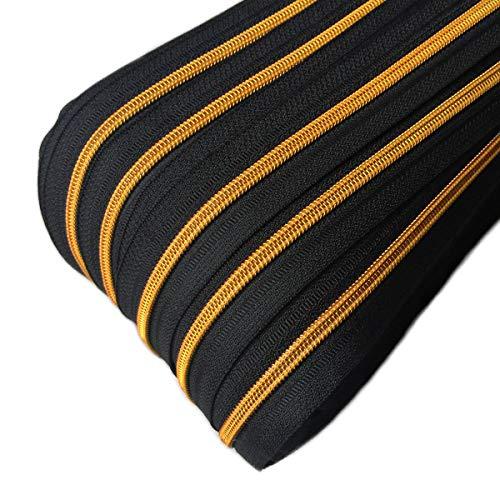 Schnoschi 2 m endlos Reißverschluss schwarz mit Goldener 5mm Laufschiene + 5 Zipper, Spiralreißverschluss