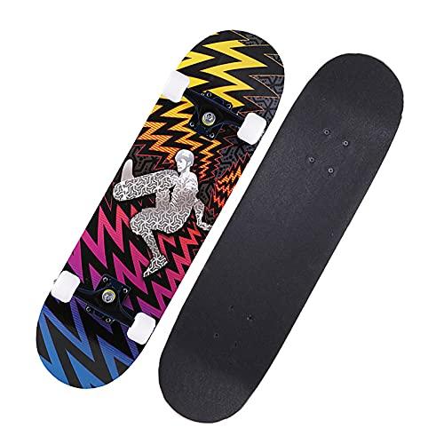 Skateboards Beginners 31''X 8'' Trick Skateboards Penny Boards Pu Wheels Anti-Shock ABEC-7 Bearings Maple Longboard for Kids Girls Youths Adults