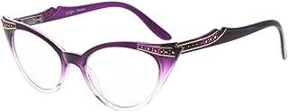 Eyekepper Cateyes Womens Reading Glasses Yeux de chat Lunettes de lecture pour femmes (Violet-Transparent, +1.00)