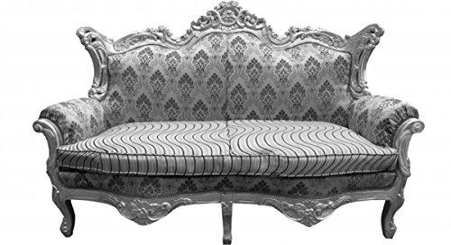 Barock 2er Sofa Master Silber Muster/Silber Mod2 - Wohnzimmer Couch Möbel Lounge