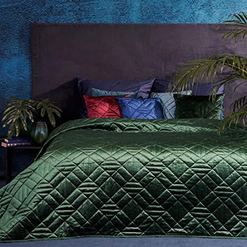 Eurofirany Bettüberwurf Velvet Samt Tagesdecke Gesteppte Decke Überwurf Steppdecke Elegant Edel Glamour Schlafzimmer Wohnzimmer Gästezimmer Lounge, Dunkelgrün, 220X240cm