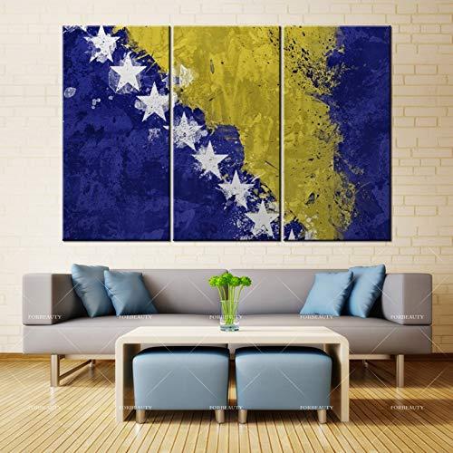 N / A Schönheit Leinwand Malerei Wandkunst Bosnien und Herzegowina Flagge Farbe Textur Sterne Punkt...