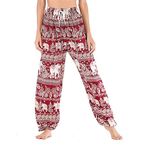 Leggins Mallas Pantalones Deportiva Niña, Pantalón ancho de la pierna de la pierna de las mujeres Pantalones Palazzo Pantalones Boho Elefante Patrón Hippie Harem Pantalones Casual Pantalones de yoga b
