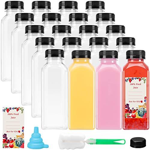 20pcs 12oz Empty Plastic Juice Bottles with caps, Reusable...