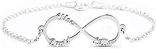 Bracelet Personnalis/é avec 1 /à 5 Enfants et Noms Gravure Fille Femmes Pendentif Charmes Bracelets Cadeau pour la F/ête des M/ères dAnniversaire