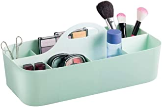 mDesign Plastic Portable Makeup Organizer Caddy Tote, Divided Basket Bin with Handle, for Bathroom Storage - Holds Blush Makeup Brushes, Eyeshadow Palette, Lipstick - Extra Large - Mint Green