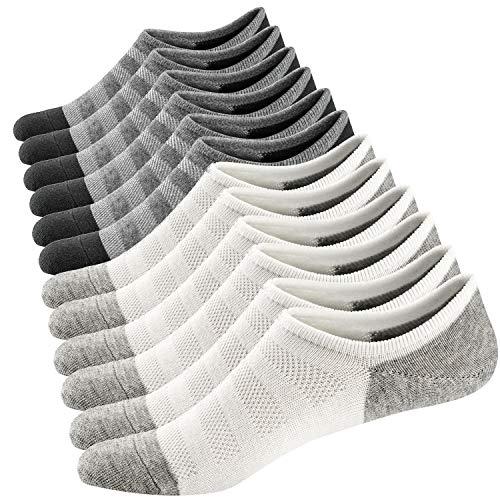 Ueither Homme Chaussettes Basses Respirantes Courtes Socquettes de Sport en Coton Confortable Basiques Chaussettes - lot de 6 - Gris/Blanc - taille 38-44