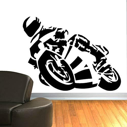Superbike Racing pared calcomanía motocicleta Rider vinilo ventana pegatina arte niños habitación niño dormitorio decoración del hogar papel tapiz
