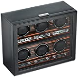 WOLF 459256 Roadster 6 Piece Watch Winder with Cover, Black