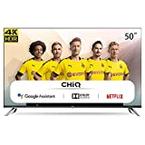 CHiQ Televisor Smart TV LED 50', Resolución 4K UHD, HDR10/HLG, Android 9.0, WiFi, Bluetooth, Netflix, Prime Video, HDMI, USB - U50H7A