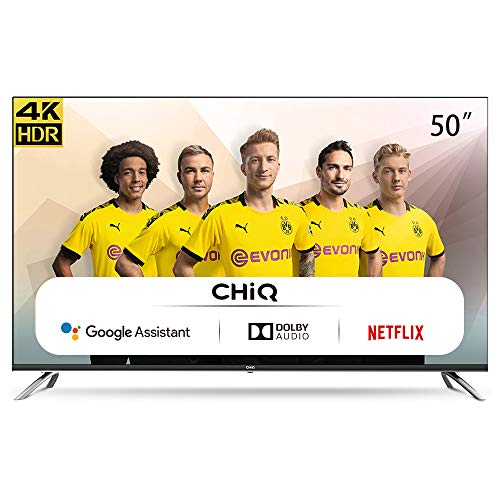 CHIQ 50 pulgadas, Android 9.0 Smart TV, U50H7A, 4K, WiFi, Bluetooth, Google Play Store, Asistente de Google, Chromecast integrado, Netflix, Video, Youtube