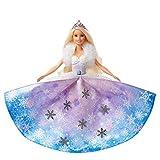 Barbie Dreamtopia poupée princesse Flocons avec robe qui se déploie et cheveux blonds à mèche rose, jouet pour enfant, GKH26