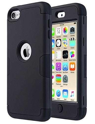 ULAK iPod Touch 7 Hülle, iPod Touch 5/6 Hülle 3in1 Stoßfest Hybrid High Impact Hart PC und Weiche Silikon Schutzhülle Tasche Case Cover für Apple iPod Touch 5/6/7 Generation - Schwarz