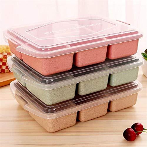 Ablerfly Boîte à Lunch 4 Grille Paille de blé Plastique Four à Micro-Ondes Vaisselle Boîte à Lunch Boîte de Rangement pour Aliments pour Enfants Boîte à Lunch pour Enfants Couverts (Beige)