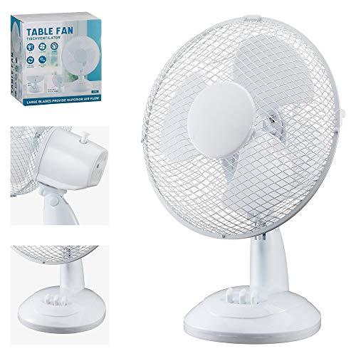 Tischventilator weiß 23 cm Durchmesser Luftkühler Lüfter Büro Wohnung Sommer