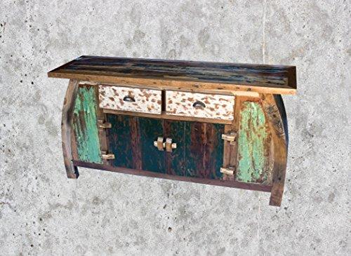(K12)Vintage Teak gebogene Kommode, Kabinett, Sideboard, Schrank, Shabby, Antik Retro, Chic - 2