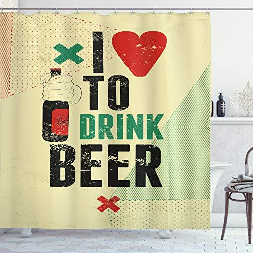 ABAKUHAUS Duschvorhang, I Love to Drink Beer Beschriftung in Creme Rot Grün Schwarzen Farben Alkohol Digital Druck, Blickdicht aus Stoff inkl. 12 Ringen Umweltfre&lich Waschbar, 175 X 200 cm