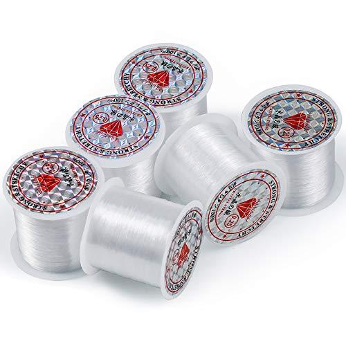 Hentek 6PCS 90M Hilo de Abalorios Transparente, 0.25mm Hilo de Pescar Hilo Invisible de Nylon para Pulsera Collar y Colgar Adornos de Navidad, 540 Metros