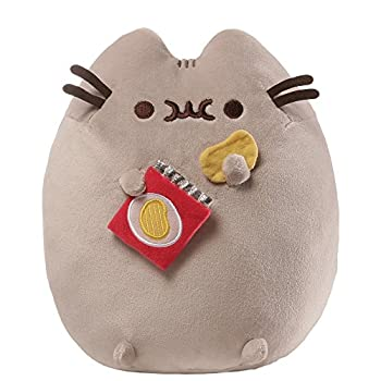 GUND Pusheen Snackables Potato Chip Cat Plush Stuffed Animal Gray 9.5