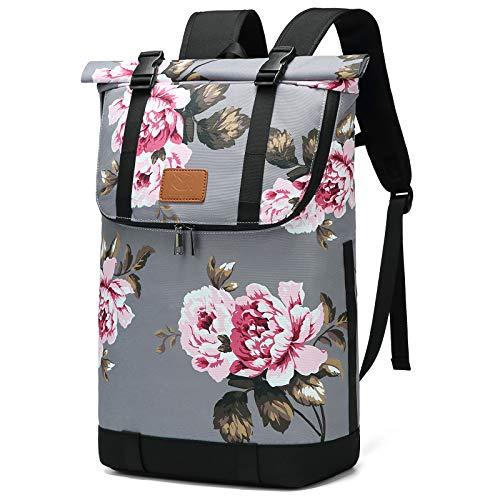 Myhozee Rucksack Damen Roll Top Laptop Rucksack Herren, Anti Diebstahl Rucksäcke Wasserabweisend Daypacks, Schulrucksack Tagesrucksack für Frauen Mädchen Teenager mit Laptopfach Tasche, Blumen